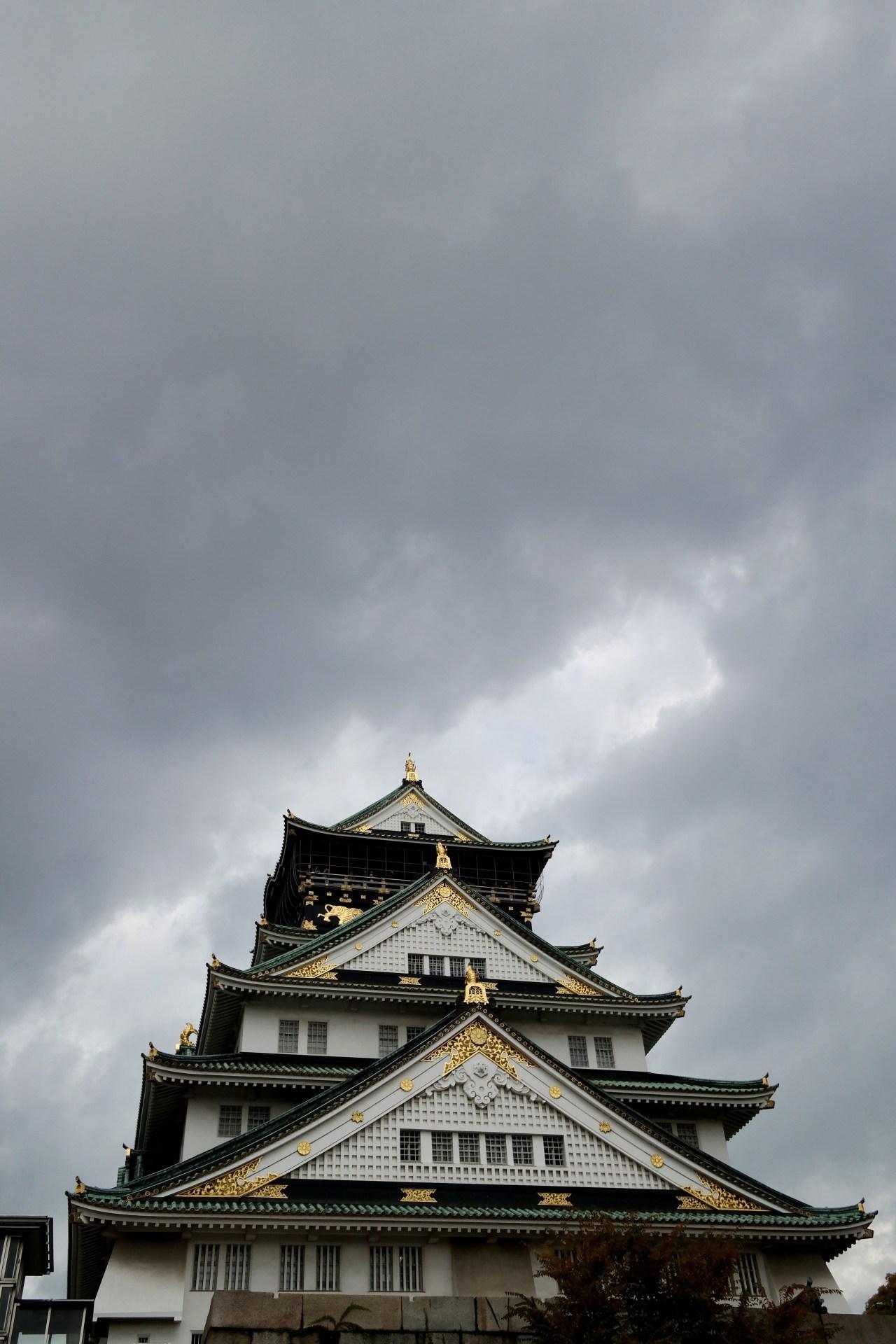 Osaka Castle rain