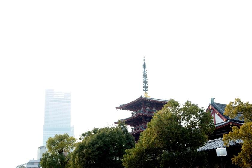 shittenoji temple with abeno harukas