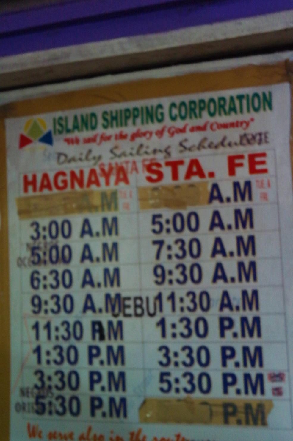 Hagnaya Port Schedule