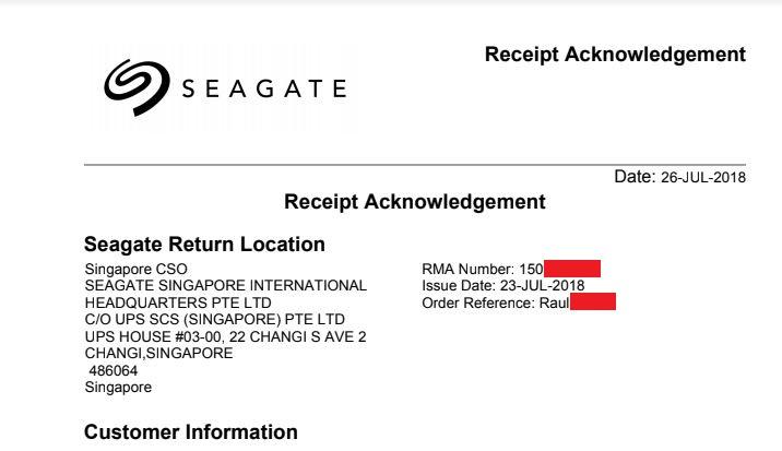 Seagate RMA