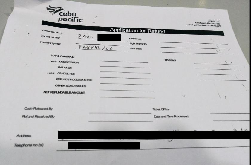 Cebu Pacific Application for Refund