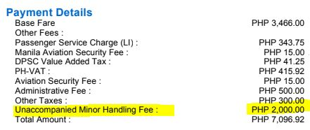 Unaccompanied Minor Handling Fee